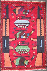 Two AK-47 Small Red War Rug with Camouflage Helicopters