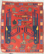 Small Red War Rug #641