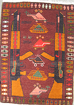 Small Red War Rug #628