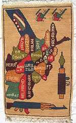 Afghanistan Map Rug with Province Names and Soviets Departing.