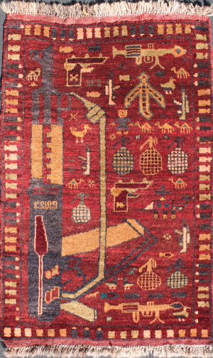 Early Red Rug with Figure- Formerly Sales Status 21