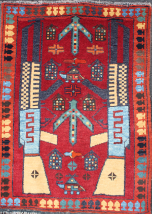 Small Red Rug with Blue Abrash AK