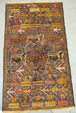 Thin Border War Rug with Lions